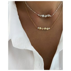 Collier Perles Lettres Argent/Or
