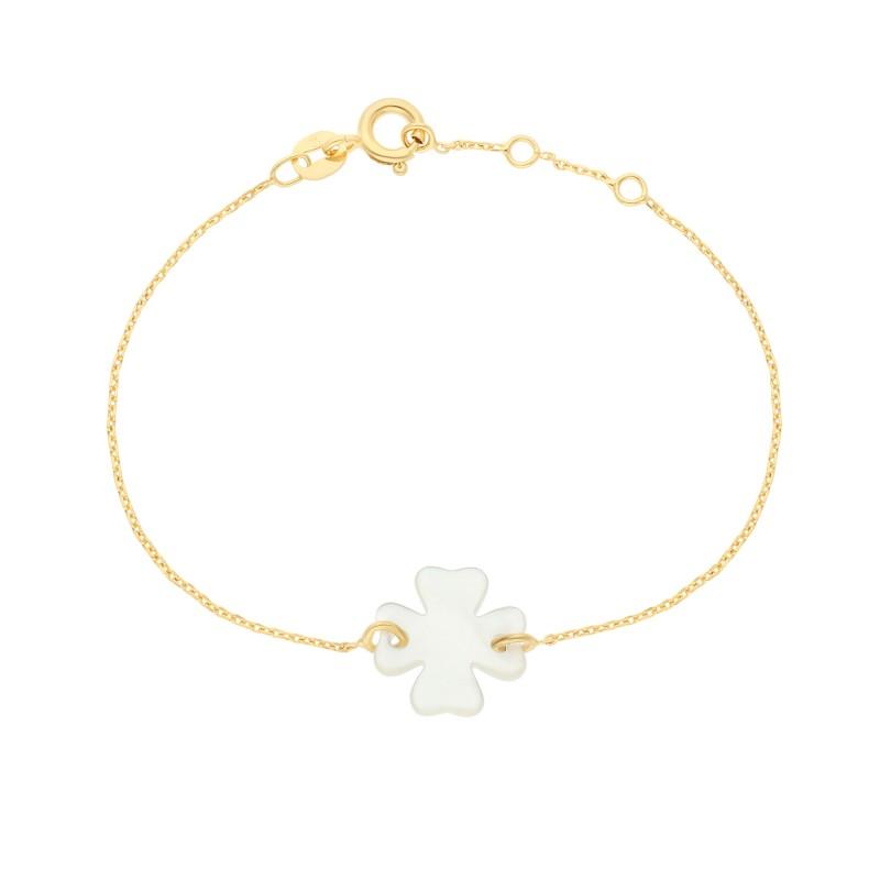 Bracelet Chaîne Trèfle / Cœur Nacre