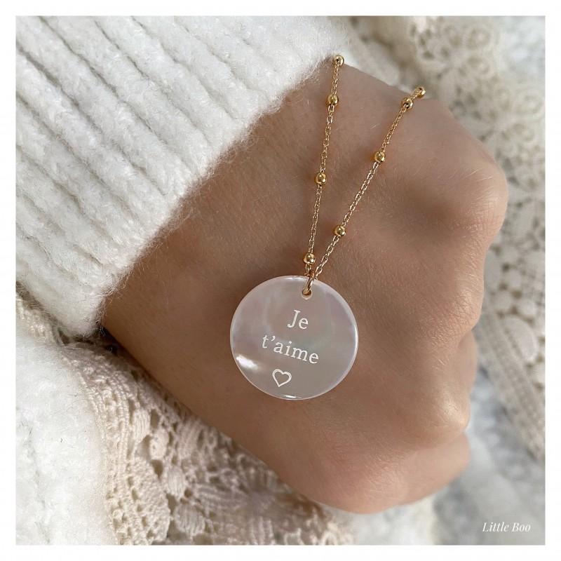 Collier médaille nacre Doré / Argent