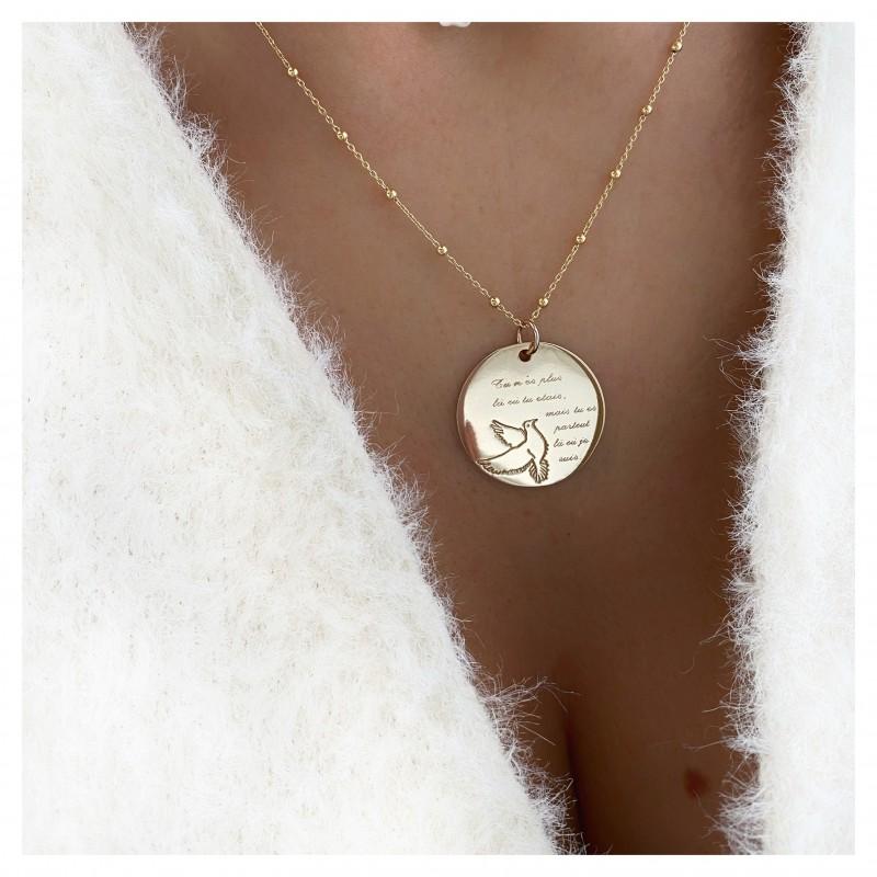 Collier Médaille Colombe Argent/Doré
